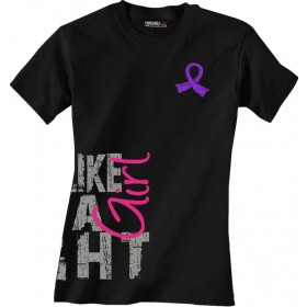 """""""Fight Like a Girl Side Wrap"""" Ladies T-Shirt - Black w/ Purple Ribbon and Pink GIRL"""