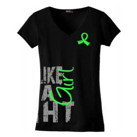 """Fight Like a Girl Side Wrap"" Ladies V-Neck T-Shirt - Black w/ Lime Green"