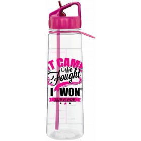 """It Came. We Fought. I Won."" SlimKim II Water Bottle - Hot Pink"