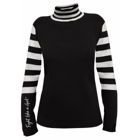 """Fight Like a Girl Script"" Ladies Sweater - Black"