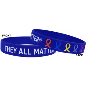 """They All Matter"" Ink-Filled Silicone Wristband - Blue"