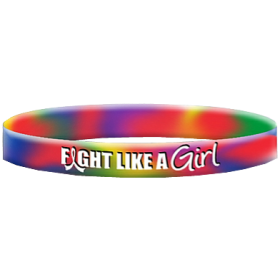 """Fight Like a Girl Hybrid"" Ink-Filled Silicone Wristband - Tie-Dye"