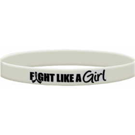 """Fight Like a Girl Hybrid"" Ink-Filled Silicone Wristband - White"