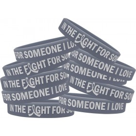"""In the Fight"" Silicone Wristband Bracelet - Grey (10 Pack)"