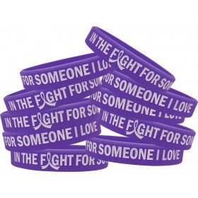 """""""In The Fight"""" Ink-Filled Silicone Wristband - Purple (10 Pack)"""