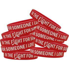 """""""In The Fight"""" Ink-Filled Silicone Wristband - Red (10 Pack)"""