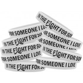 """""""In the Fight"""" Silicone Wristband Bracelet - White (10 Pack)"""