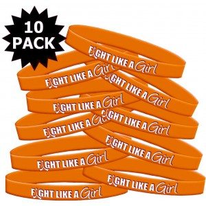 Fight Like a Girl Hybrid Silicone Wristband - Orange (10 Pack)