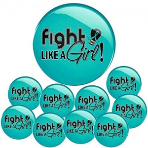 """""""Fight Like a Girl Signature"""" Round Button - Teal (10 Pack"""