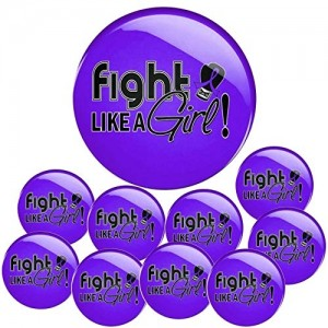 """Fight Like a Girl Signature"" Round Button - Purple (10 Pack)"