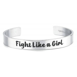 Fight Like a Girl Cuff Bangle Bracelet Stainless Steel 316L with Jewelry Box