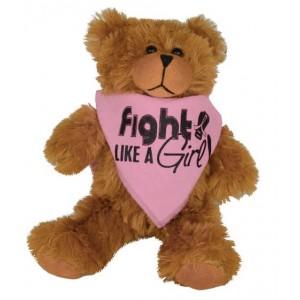 """Fight Like a Girl Signature"" Teddy Bear Fight Pal With Bandana - Pink"