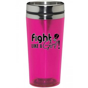 Fight Like a Girl Stainless Steel Acrylic Tumbler in Hot Pink for Breast Cancer Awareness