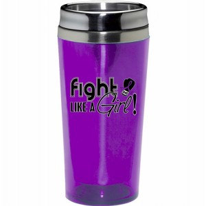 Fight Like a Girl Travel Tumbler w/ Purple Ribbon for Lupus, Pancreatic Cancer, Epilepsy, Fibromyalgia, Chiari Malformation