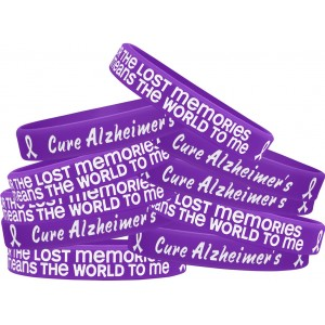 """""""Lost Memories"""" Ink-Filled Silicone Wristband - Alzheimer's Disease (10 Pack)"""