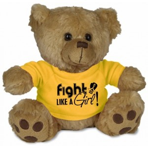 Fight Like a Girl Teddy Bear Stuffed Animal - Gold