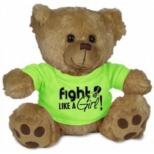 Fight Like a Girl Teddy Bear Stuffed Animal - Lime Green