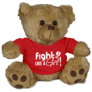 Fight Like a Girl Teddy Bear Stuffed Animal AIDS, Heart Disease, Blood Cancer
