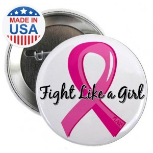 Fight Like a Girl Pink Ribbon Buttons - Breast Cancer