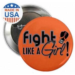"""Fight Like a Girl Signature"" Round Button - Orange"