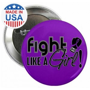 Fight Like a Girl Signature Round Button - Purple