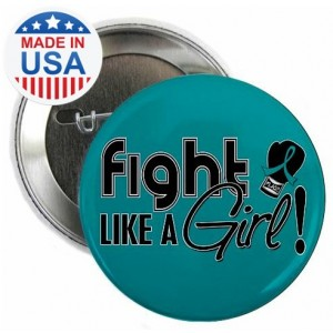 Fight Like a Girl Signature Round Button - Teal