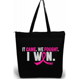 Breast Cancer Survivor Tote Bag It Came We Fought I Won