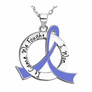 """It Came. We Fought. I Won."" Survivor Necklace w/ Periwinkle Ribbon For Esophageal Cancer, Stomach Cancer"