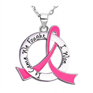 """It Came. We Fought. I Won."" Breast Cancer Survivor Necklace - Pink Ribbon"