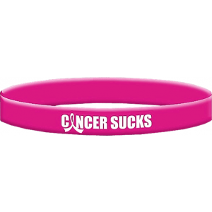 Cancer Sucks Wristband Bracelet in Hot Pink for Breast Cancer