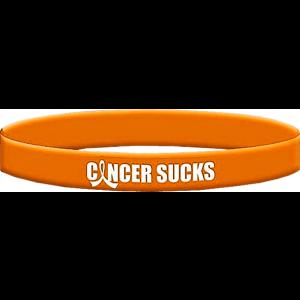 Cancer Sucks Orange Wristband Bracelet for Leukemia, Kidney Cancer, Skin Cancer
