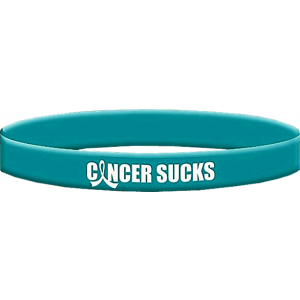 Cancer Sucks Teal Wristband Bracelet for Ovarian Cancer, Peritoneal Cancer, Gynecologic Cancer