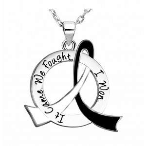 """It Came. We Fought. I Won."" Survivor Necklace - Black & White"