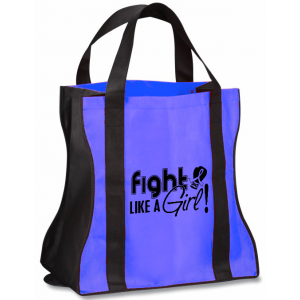 Fight Like a Girl Grocery Tote Bag Colon Cancer Still's Disease Anal Rectal Ankylosing Spondylitis AS Huntingtons
