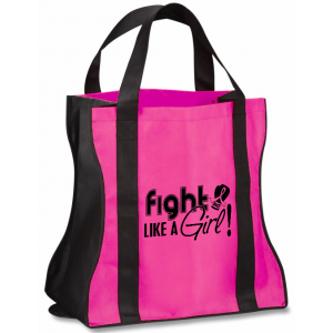 Fight Like a Girl Grocery Tote Bag Breast Cancer