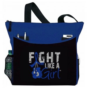 """Fight Like a Girl Knockout"" Dakota Tote Bag - Blue"