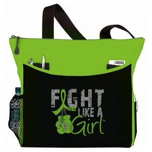 """Fight Like a Girl Knockout"" Dakota Tote Bag - Lime Green"