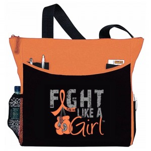 """Fight Like a Girl Knockout"" Dakota Tote Bag - Orange"