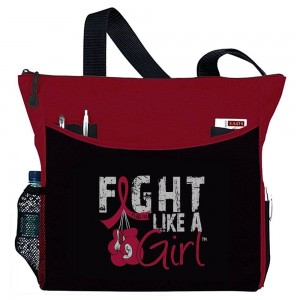 """Fight Like a Girl Knockout"" Dakota Tote Bag - Red"