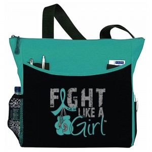 """Fight Like a Girl Knockout"" Dakota Tote Bag - Teal"
