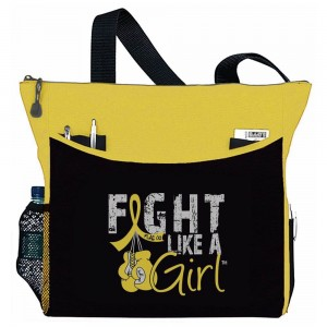 """Fight Like a Girl Knockout"" Dakota Tote Bag - Yellow"