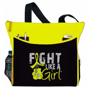 Fight Like a Girl Boxing Glove Tote Bag - Yellow Ribbon