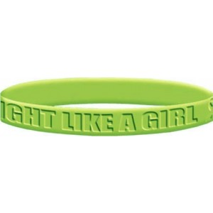 """""""Fight Like a Girl Bold"""" Silicone Wristband - Lime Green"""