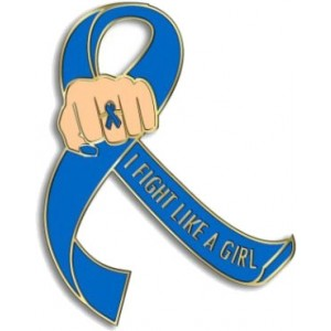 """I Fight Like a Girl Fist"" Lapel Pin - Blue"