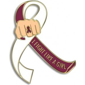 """""""I Fight Like a Girl Fist"""" Lapel Pin - Burgundy and White"""