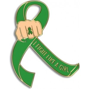 """I Fight Like a Girl Fist"" Lapel Pin - Green"