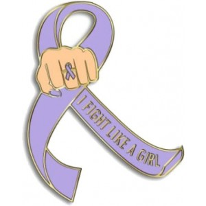 """I Fight Like a Girl Fist"" Lapel Pin - Lavender"