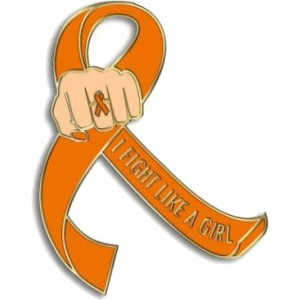 """I Fight Like a Girl Fist"" Lapel Pin - Orange"
