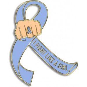 """I Fight Like a Girl Fist"" Lapel Pin - Periwinkle"