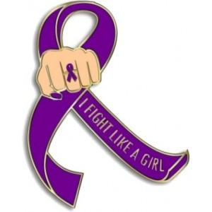 """I Fight Like a Girl Fist"" Lapel Pin - Purple"